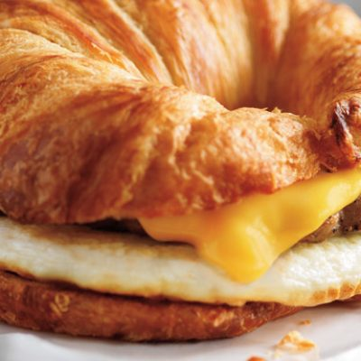 sausage, egg, cheese croissant